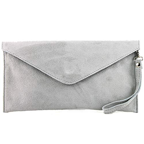 modamoda de - T106 - ital Clutch/Abendtasche aus Wildleder, Farbe:Lichtgrau