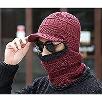 sheng Chapeau d'hiver pour hommes cache-oreilles épaisse fourrure chapeau chaud bavoir d'extérieur une casquette d'équitation noir