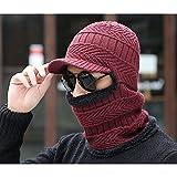 Hat Sheng Sombrero de los Hombres de Invierno Orejeras de Peluche Grueso Sombrero cálido Babero al Aire Libre una Gorra de Montar Negro (Color : Rojo)