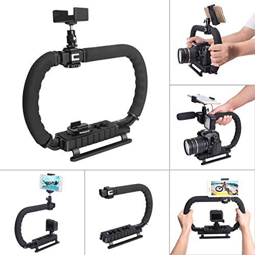 DSLR/Systemkamera/Action Kamera Camcorder Phone Stabilisator 3-Schuh 2 Handhalter Vlog Video Halter Rig Low Position Aufnahmen Abnehmbar Montage Handgriff für GoPro Sony Canon Nikon DV iPhone Samsung -