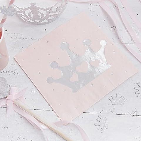 Serviette Papier Rose - Ginger Ray Rose et argenté avec feuille
