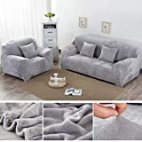 Yeahmart Thick Sofa Covers 1/2/3/4 Seater Pure Color Sofa Protector Velvet Easy Fit Elastic Fabric Stretch Couch Slipcover (Silver Grey, 2 Seater 145-185cm)