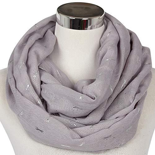 PGDD Neue modische Frauen grau glänzend Bronze Silber Libelle Schal Loop Schal für Damen Womens