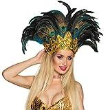 NET TOYS Samba-Kopfschmuck mit Pfauenfedern | Bunt | Aufregender Damen-Haarschmuck Karneval in Rio geeignet für Fasching & Karneval