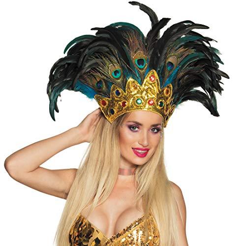 Kostüm Samba Rio - NET TOYS Samba-Kopfschmuck mit Pfauenfedern | Bunt | Aufregender Damen-Haarschmuck Karneval in Rio geeignet für Fasching & Karneval