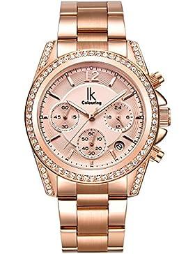 Alienwork Quarz Armbanduhr Multi-funktion Quarzuhr Uhr modisch Strass rose gold Metall K001GA-03