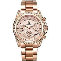 Alienwork Quarz Armbanduhr Roségold Uhr Damen Uhren Mädchen Strass Metall rose gold K001GA-03