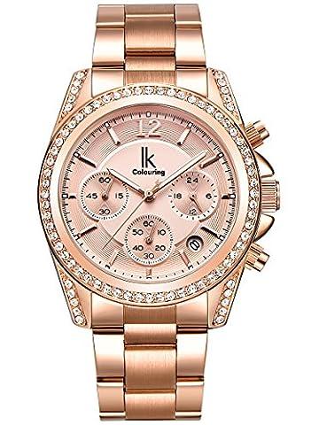 Alienwork Quartz Watch Multi-function Wristwatch stylish Rhinestone Metal rose gold