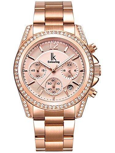 alienwork-quartz-watch-multi-function-wristwatch-stylish-rhinestone-metal-rose-gold-rose-gold-k001ga