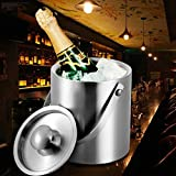 uarter hielo Cubos de pared doble con aislamiento de vino cubo de acero inoxidable cubo para hielo con tapa, 3L, color plateado