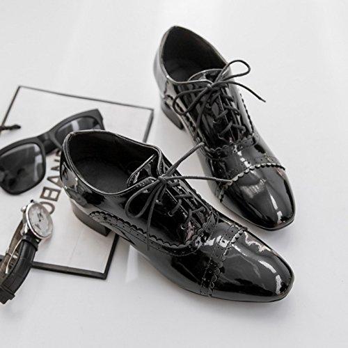 Oaleen Chaussures Derbies Femme Vernis Vintage Lacets Brogue Richelieu Talon Bloc Eté T.32-46 Noire Classique