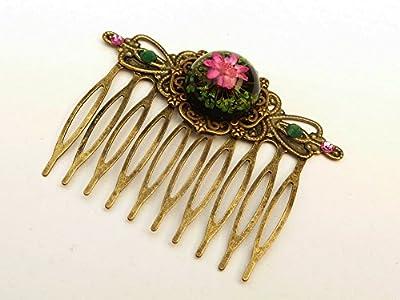 Peigne avec de vraies fleurs en bronze rose vert
