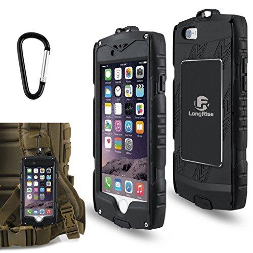 iPhone 6Plus Custodia resistente: antiurto [protezione goccia] [fingprint identificazione] Custodia protettiva per iPhone 6Plus 6S Plus 5.5Inch Outdoor Sports casi con gancio, Arrampicata e trekking], Black