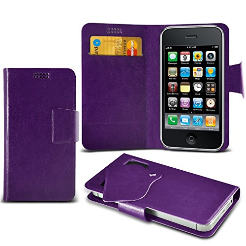 ( White +Earphones) Case for iPhone 7 Plus Mobile Phone case cover pouch High Quality Thin Faux Leather Suction Pad Wallet case Cover Skin With Credit/Debit Card Slots With Premium Quality in Ear Buds Suction wallets (purple)