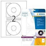 Herma 4849 Tintenstrahldrucker CD Etiketten Foto-Qualität (Ø 116 mm, Innenloch groß) weiß, 50 St., 25 Bl. A4 Papier, Zentrierhilfe, selbstklebend