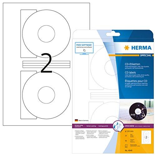 Herma 4849 Tintenstrahldrucker CD Etiketten Foto-Qualität (Ø 116 mm, Innenloch groß) weiß, 50 Aufkleber, 25 Blatt DIN A4 Papier glänzend, Zentrierhilfe, bedruckbar, selbstklebend