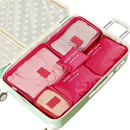Kleidertaschen-Set 6-teilig IHRKleid® Reisetasche in Koffer Wäschebeutel Schuhbeutel Kosmetik Aufbewahrungstasche Farbwahl (Hot pink) (Pink-schuh-tasche Hot)