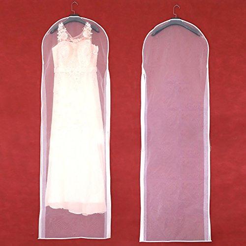 Hochzeit Braut-Staub-Abdeckung mit Reißverschluss, für Home-Kleid mit Tasche, transparente Seiten Tüll-Garn dust-proof Tasche für Party Kleider, Abendkleider, Anzüge, Mäntel, Jacken, weiß, 155/61inch - Tüll Mantel