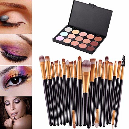 Saingace® 15 couleurs Crème Contour Maquillage Correcteur Palette Professional + 20 BROSSE