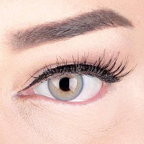 Sehr stark deckende und natürliche Graue Kontaktlinsen SILIKON COMFORT NEUHEIT farbig \'Elly Gray\' + Behälter von GLAMLENS - 1 Paar (2 Stück) - DIA 14 mm - ohne Stärke 0.00