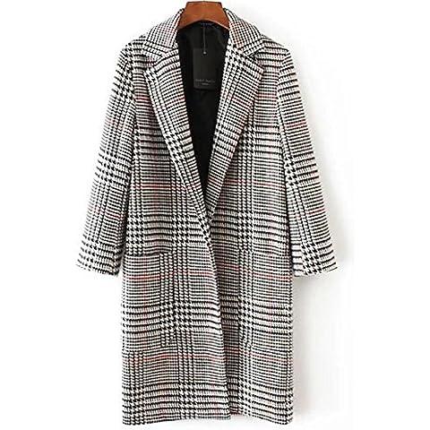 YUYU Panno di signora moda Lattice lungo peloso cappotto lana giacca , m , picture color
