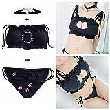 SQZH-Japan cosplay Tod Wasser durchbrochene Stickerei offenen Brustkorb verkaufen Unterwäsche sexy Set schöne Katze MoE,Schwarz
