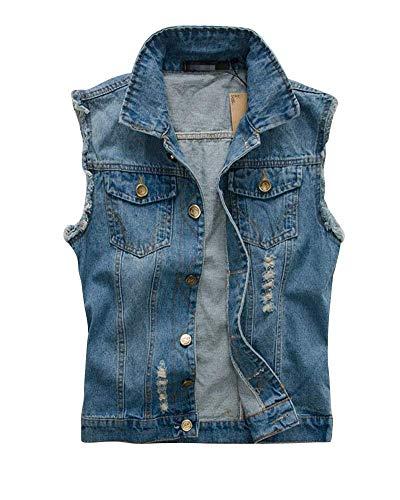 864916b689092d Herren Ausgefranste Weste Distressed Vest Denim Jeansjacke Jungen Clubweste  Rocker Weste Fashion Slim Fit Outerwear Weste