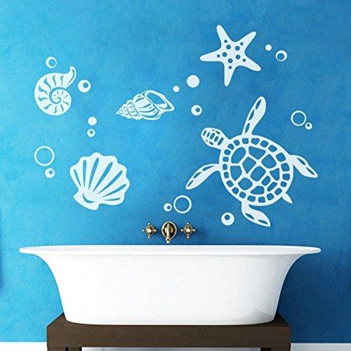 badezimmer-dekor-meerestiere-kunst-aufkleber-meer-biologisch-vinyl-mit-bubbles-sea-turtle-vinyl-wand