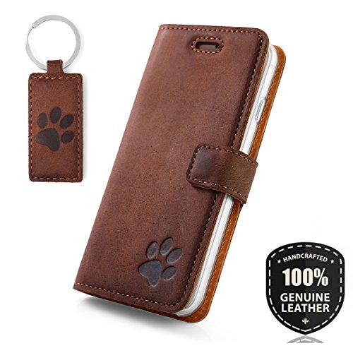 SURAZO Pfote - Premium Vintage Ledertasche Schutzhülle Wallet Case aus Echtesleder Nubukleder Farbe Nussbraun für Huawei Mate 10 Pro (6,00 Zoll)
