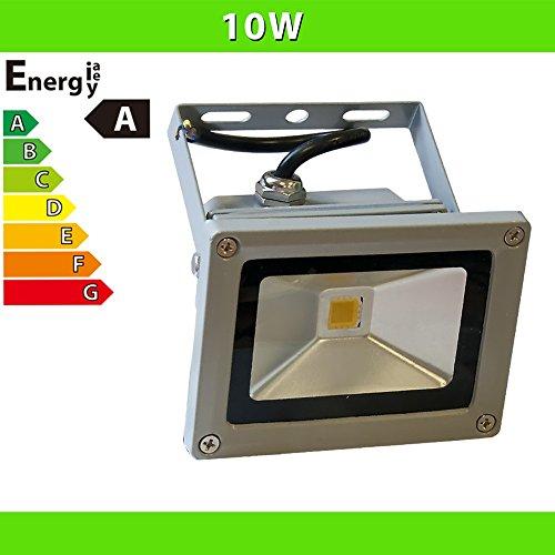 LED Flutlicht 10 W Fluter Strahler Baustrahler, silber / kaltweiß LF2