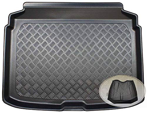 ZentimeX Z3329290 Geriffelte Kofferraumwanne fahrzeugspezifisch + Klett-Organizer (Laderaumwanne, Kofferraummatte)
