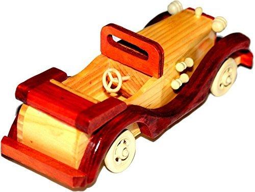 The Hue Cottage voiture jouets vintage style décoratif bois figurine artisanale pièce maîtresse brune intérieur de cadeaux