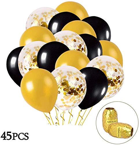 Mmtx palloncini oro e nero, 45 pezzi palloncini oro con oro confetti palloncino per le donne compleanno decorazione degli uomini laurea festa di halloween