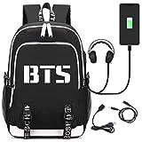 Partiss Unisex BTS Rucksack K-Pop laessige Handtasche fuer Reise Schule mit der Grossen Kapazitaet mit USB-Anschluss und Kopfhoereranschluss,One size Black