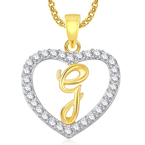 Meenaz 'G' Letter Heart Pendant Locket Alphabet For Women And Men With Chain Gold Plated In American Diamond Cz