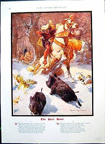Old Print Boar Hunt Man Horseback Spear Colour Welcome Guest
