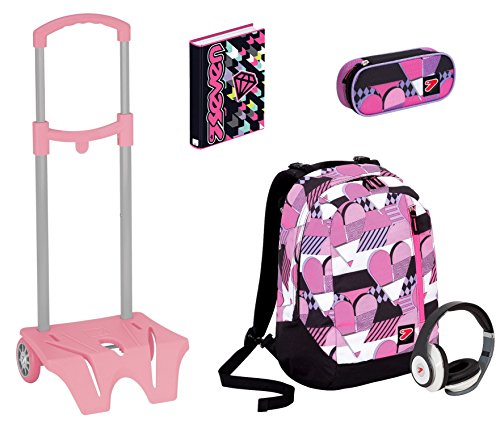 Kit scuola Zaino + EASY TROLLEY + Portapenne + Diario SEVEN - THE DOUBLE PINKY HEARTS rosa - cuffie stereo con grafica abbinata incluse! 2 zaini in 1 REVERSIBILE