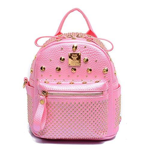 Mini Ribattini Donna Borsa A Tracolla In Pelle Imitazione Impermeabile Zaino Casual Daypack Pink