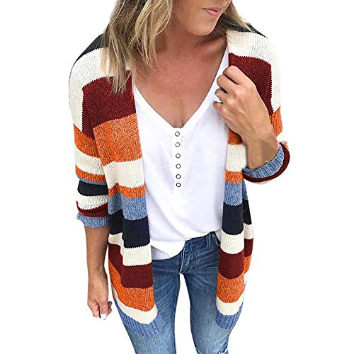 BHYDRY Bluse Patchwork Frauen Rainbow Stripes Langarm Strickjacke Tops Pullover Mantel