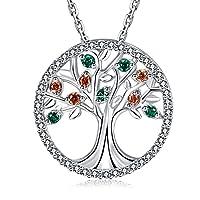 MEGA CREATIVE JEWELRY Levensboom Halskettingen voor Dames Gemaakt van 925 Sterling Zilver met Kristallen