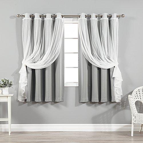 Best Home Fashion Tüll Sheer Spitze und Verdunkelung 4-teiliges Vorhang-Set, grau, 52W x 63L