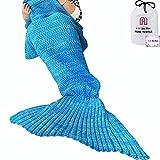 Meerjungfrau Decke, Handgemachte häkeln meerjungfrau flosse decke für Erwachsene, Mermaid Blanket alle Jahreszeiten Schlafsack Für Erwachsene (Blau)