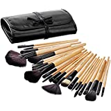 Solimo Makeup Brush Set, 24 Pieces with PU Leather Case