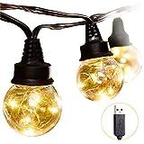Zerproc Guirlande Lumineuse USB 9.2M 25 LED Boules G45 avec Fil de Cuivre Globe Plastique Transparent Décor Chambre Mur Terrasse Mariage [Classe énergétique A+] Blanc Chaud (sans prise)