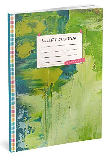 Bullet Journal: Punktraster Notizbuch (Ca. A5) + 100 Seiten + Vintage Softcover   TOP Motiv: Green Wall   Dot Grid Journal, Kalligraphie Übungsheft, Punktpapier +++ Jetzt mit Register +++ por Wölklein Designs