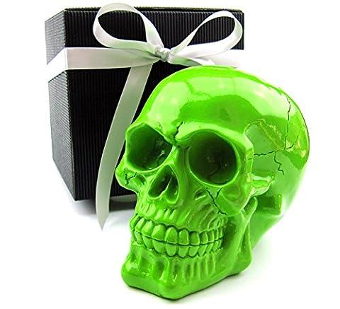 Deko Totenkopf, Toten-Schädel, Skull, stylische Farben im Geschenk-Set, in eleganter schwarzer Geschenk-Box mit Schleifenband, Geschenk für Frauen, Männer, Gothic, Mystik, Fantasy, Dekoration, Party-Geschenk, Halloween (hellgrün glanz)