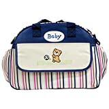 Rachna's Water Repellent D-Shape Baby Diaper / Nappy Changing Teddy Print Stripes Multi-Purpose Mother Shoulder Nursery Travel Messenger Bag - 2058 -