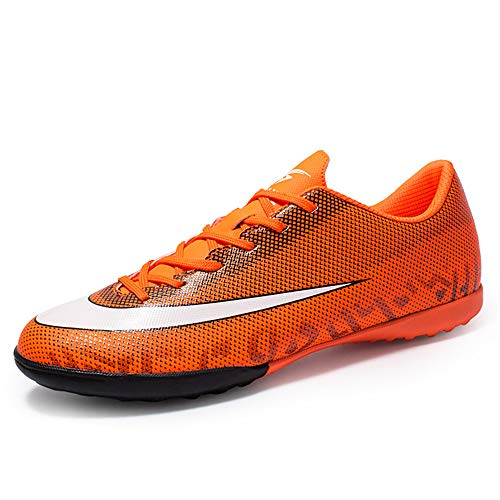 Männer Fußballschuhe, Jungen Fußballtraining Schuhe Niedrig Hilfe TF Hohe Elastizität Unisex Rutschfeste Profi-Spikes,Orange,39 -
