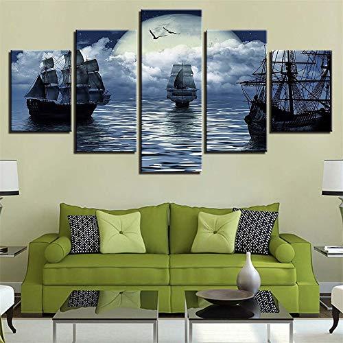 Moderne dekorative malerei Hause Sofa Wand Wohnzimmer HD Kunst Painting,Boot mit Blick auf das Meer 9 Malerkern 10x15cmx2 10x20cmx2 10x25cmx1