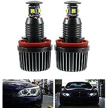 EX1 Auto Coche LED Luz Ojos de Angel H8 40W para BMW E60 E61 E63 E70 E71 E82 E87 E89 E90 E91 E92 E93 (2 Piezas, Blanco)